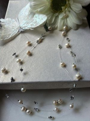 Freshwater Pearl & Crystal Floating Necklace