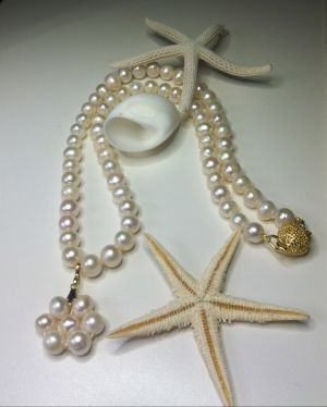 Freshwater Pearl Daisy Necklace