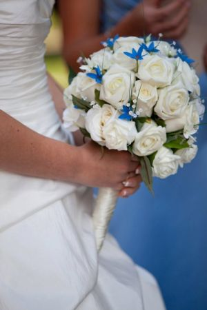 Bridal Bouquet with Blue Star Flowers & Compact Foam Roses